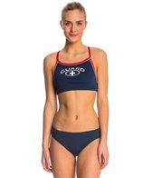 Waterpro Lifeguard Thin Strap Piped Two Piece Bikini Swimsuit Set
