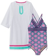 Cabana Life Girls' Azalea Shores One Piece Swimsuit & Terry Cover Up (2T-6X)