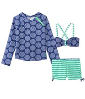 Cabana Life Girls' Nautical Knots Bikini Rashguard Swim Set (7-14yrs)