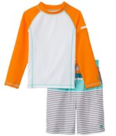 Cabana Life Boys' Multi Stripe Swim Shorts & Rashguard Set (2T-7)