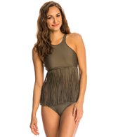 Luxe by Lisa Vogel Fringe Benefits High Crop High Neck Tankini Top
