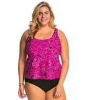 Maxine Plus Size Casa Blanca Scoop Tankini Top
