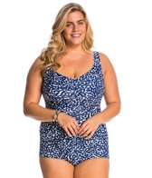 Maxine Plus Size Spot Off Shirred Front Girl Leg One Piece Swimsuit