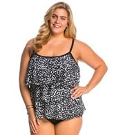 Maxine Plus Size Spot Off Tiered Tankini Top