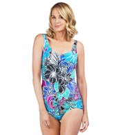 Maxine Tahitian Floral Shirred Front Girl Leg One Piece Swimsuit