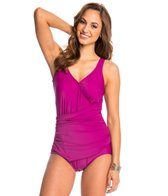 Maxine Solid Tricot Surplice Wrap One Piece Swimsuit