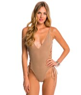 Blue Life Mermaid Lace Up One Piece Swimsuit