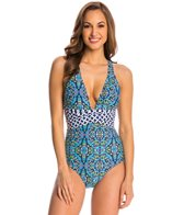 Athena Mosaic Tile Cross Back One Piece Swimsuit