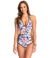 Kenneth Cole Flower Power Play Plunge Halter One Piece Swimsuit
