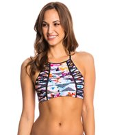 Kenneth Cole Flower Power Play High Neck Crop Bikini Top