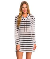 Kenneth Cole Dare to State Mesh Stripe Long Cover Up Hoodie