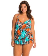 Shape Solver Plus Size Pizzazz Triple Tier Faukini One Piece Swimsuit