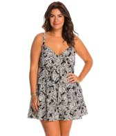 Shape Solver Plus Size Vanilla Lace Triple Tier Swimdress