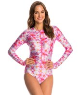 SlipIns SurfSkin Mini Plumeria Zipper Long Sleeve One Piece Swimsuit