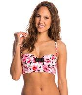 Kate Spade Bay of Roses Smocked Underwire Bralette Bikini Top