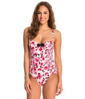 Kate Spade Bay of Roses Smocked Underwire One Piece Swimsuit