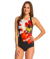 Carmen Marc Valvo Peony High Neck One Piece Swimsuit