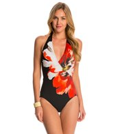 Carmen Marc Valvo Peony Surplus Halter One Piece Swimsuit