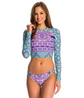 Jessica Simpson Swimwear Mojave Cropped Rashguard Top