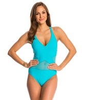 BLEU Rod Beattie Net Worth Criss Cross Mesh Halter One Piece Swimsuit