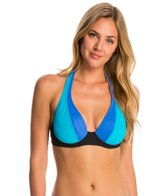 Swim Systems Block Party Blue Halter Underwire Bikini Top (D/DD Cup)