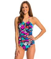 Anne Cole Island Floral High Neck Keyhole One Piece Swimsuit