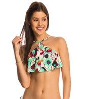 Eidon Swimwear Five Spot Zendaya High Neck Flounce Bikini Top
