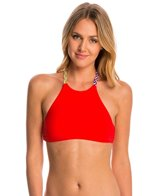 Red Carter Friendship Bracelet High Neck Bikini Top