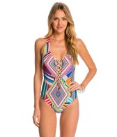 Red Carter Mediterranean Vacation Plunge Lace Up One Piece Swimsuit