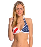 FOX Swimwear Red, White And True Fixed Halter Bikini Top