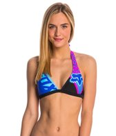 FOX Swimwear Shiv Cheetah Fixed Halter Bikini Top