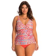 Sunsets Plus Size Andalusia Shirred Tankini Top (E/F Cup)