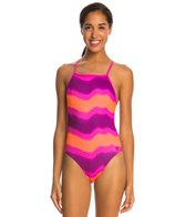 Speedo Turnz Tonal Wave Printed One Back One Piece Swimsuit