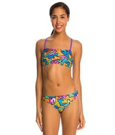 Speedo Flipturns Polygram Power Printed Two Piece Bikini Swimsuit Set