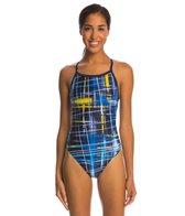 Speedo PowerFlex Eco Laser Sticks Pulse Back One Piece Swimsuit