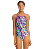 Speedo Flipturns Geo Playtime Propel Back One Piece Swimsuit