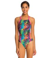 Speedo Turnz Eye Spy Printed Vee 2 Back One Piece Swimsuit