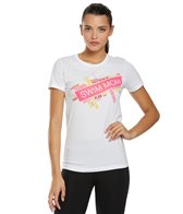 USA Swimming Women's Swim Mom Word Collage Crew Neck T-Shirt