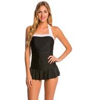 Jones New York Barcelona Shirred Swim Dress