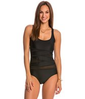 Jones New York Peek-A-Boo Mesh Criss Cross One Piece Swimsuit