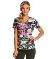 AMBRO Manufacturing Women's Short Sleeve Camo Swim Brat Tee Shirt