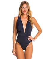 Vix Solid Indigo Drape One Piece Swimsuit