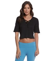 Alo Yoga Interlace Yoga Short Sleeve Crop Top