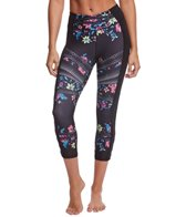 Betsey Johnson Tribal Floral Cutout Sueded Yoga Capris