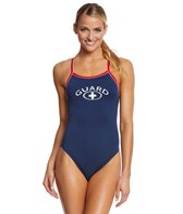 Waterpro Women's Lifeguard Piped Skinny Strap One Piece Swimsuit