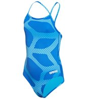 Arena Girls' Spider Light Drop Back One Piece Swimsuit