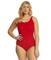Sporti Plus Size Textured Chorine Resistant Scoop Back One Piece Slimsuit