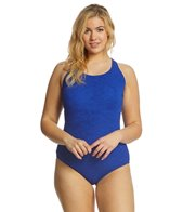 Sporti Plus Size Textured Chlorine Resistant High Neck One Piece Slimsuit