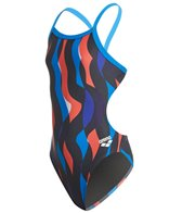 Arena Girls' Wavy Water MaxLife Challenge Thin Strap Open Back One Piece Swimsuit