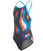 Arena Girl's Wavy Water Light Drop One Piece Swimsuit
